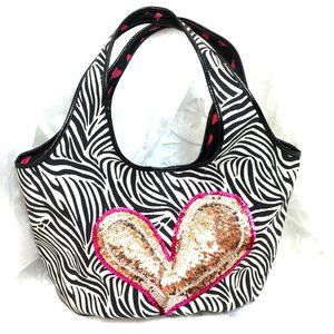 Think Bee Zebra Just Heart Shoulder Purse EUC